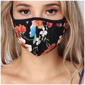 Accessories - Black Floral Face Mask